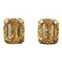 Vintage Estate Pair 14k Solid Gold Foliate Motif Earrings w Large Emerald Cut Citrines