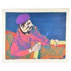 "Original 1973 Psychedelic Screenprint ""The Fisherman"" Chicago Artist Vasso"