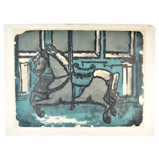 Max Kahn Lithograph Carousel Horses in Blue Original Signed Trial Proof