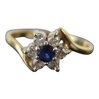Vintage Estate 14k Solid Yellow Gold Starburst Flower Ring Sapphire Diamonds