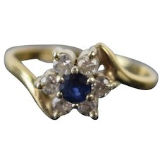 Vintage Estate 14k Solid Yellow Gold Starburst Flower Ring Sapphire Diamonds
