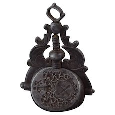 Antique Georgian Intaglio Steel Triple Swivel Wax Letter Seal Coat of Arms Crucifix