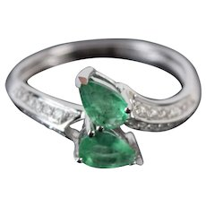 Vintage Estate White Gold Serpent Ring w Tear Drop Emeralds & Diamonds