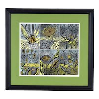 """Ruth Leaf Hand Colored L/E Woodcut Abstract Botanical """"Seed Series"""""""