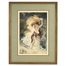 """Nubile Couple Fleeing """"The Storm"""" Watercolor Painting after Pierre A. Cot"""