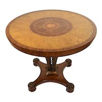 Maitland Smith Center Table Feather Marquetry Top Bronzed Metal Palm Frond Base