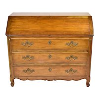 Baker Furniture Co. French Louis XV Style Walnut Slant Front Secretary Desk