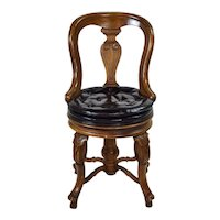 Antique Style Diminutive Carved Wood Black Leather Swivel Chair
