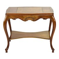 Beautiful Vintage Queen Anne Style Chess Game Table on Cabriolet Legs