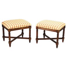 Pair Vintage Federal Style Mahogany Ottomans or Stools by Gordon's
