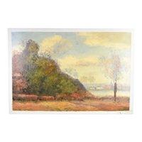 Impressionist Landscape Oil Painting Woodlands w Riverside Village by Stephano