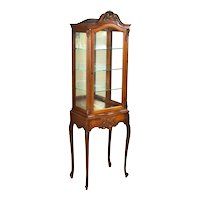 Antique Carved French Locking Curio Cabinet Vitrine