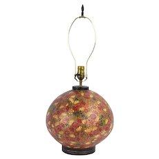 Vintage Kashmiri Hand Painted  Papier Mache Bulbous Urn Table Lamp