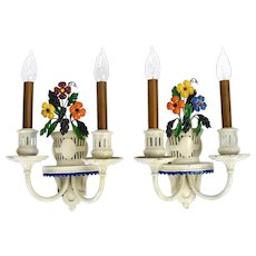 Charming Pair 1930's Depression Era Painted Metal Wall Sconces Pots of Flowers