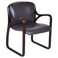 Sculptural Vintage Modern Mahogany Wood Frame Armchair Chair