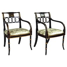 Pair English Regency Style Charleston Armchairs Equestrian Scene Upholstery