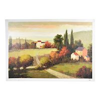 Impressionist Landscape Oil Painting Country Houses in Forest Area by Conte