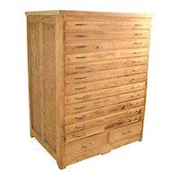Vintage Rustic Pine Wood Flat File Fine Art Print Blueprint or Map Cabinet