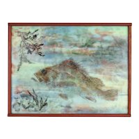 Vintage Encaustic Painting of Copper Rockfish signed Huffman