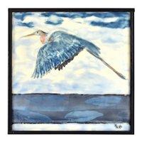 Vintage Encaustic Painting of Heron or Crane in Flight Signed Huffman