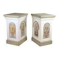 Antique Painted Pedestals Christian Motifs Storks Wheat Grapes Chalice