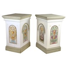 Antique Painted Pedestals Christian Motifs Storks Wheat Grapes Chalice