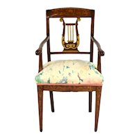 19th Century Italian Lyre Back Music Chair w Ornate Marquetry Inlay