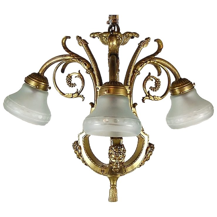 Vintage Brass Chandelier With Grapes And Bacchus Or Satyr Masks