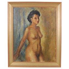 1940 Oil Painting Impressionist Nude Artist signed Carl Horth Davensen