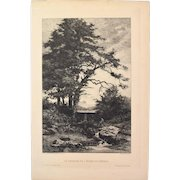 Tancrede Abraham - The Dam of the Pond-of-Robin 1885 Etching Gazette des Beaux Arts