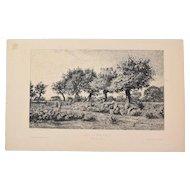 Camille Bernier - Country of Kerlagadic Etching Gazette des Beaux Arts