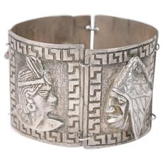 Vintage Peruvian Heavy .900 Silver Bracelet with Inca Imagery