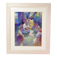 Haunting Color Pastel Drawing Locals Resting in Latin American Alley Market