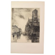 Eugene Bejot - Saint Nicolas des Champs Aquatint Etching Gazette des Beaux Arts
