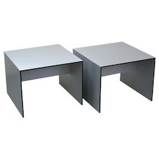Pair Mid-Century Modern Style Open Cube Brushed Aluminum End Tables