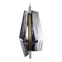 Vintage Modernist Metal Wall Sculpture w Maquette Joseph Burlini Chicago