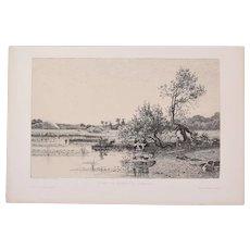 Camille Bernier - Pond of Quimerc'h Etching Gazette des Beaux Arts