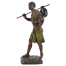 Cold Painted Spelter Bronze Arab Water Bearer after French Orientalist J. Didier Debut