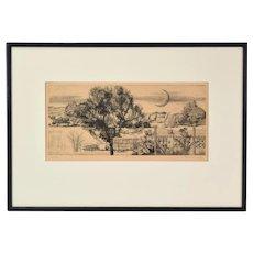 1975 Hungarian Engraving Surrealist Landscape w Crescent Moon Csaba