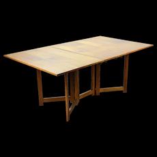 Vintage Mid-Century Modern Gateleg Double Drop Leaf Walnut Dining Table