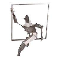 1990's Donna Kario Salem Aluminum Sculpture Figure Climbing through Window