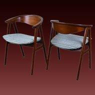 Pair Vintage Mid Century Danish Modern Dining Arm Chairs Erik Kirkegaard