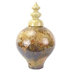 Elliott Newton Bulbous Vase 3-Tier Lid Porcelain Clay Pottery Crystalline Glaze