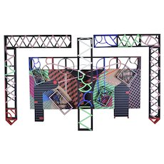 "1991 Geometric Polychrome Wood Canvas Wall Sculpture ""Latticed Planes Two"" Grossman NYC"