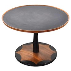 Vintage Mid-Century Modern Walnut Leather Top Side Table Scalloped Design