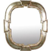 Vintage Italian Silver Gilt Solid Wood Wall Mirror Excellent Quality