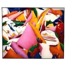 1970s Abstract Airbrush Op Art Painting on Acrylic Paul Pinzarrone Illinois artist