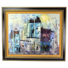 Vintage French Mid-Century Oil Painting Abstract Street Scene Maurille Prevost