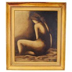 Vintage 1970's Abstracted Posterior Portrait Nude Woman Oil Painting Signed