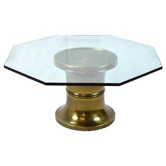 Vintage Mid-Century Modern Octagonal Glass Top Brass Pedestal Coffee Table